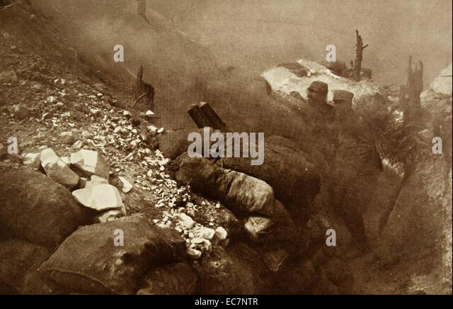 French position under attack during the battle of the Argonne. - Stock Image