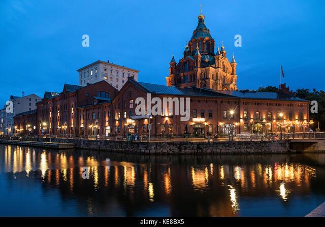 Uspenski Cathedral and Katajanokka waterfront in the city of Helsinki in Finland. - Stock Image