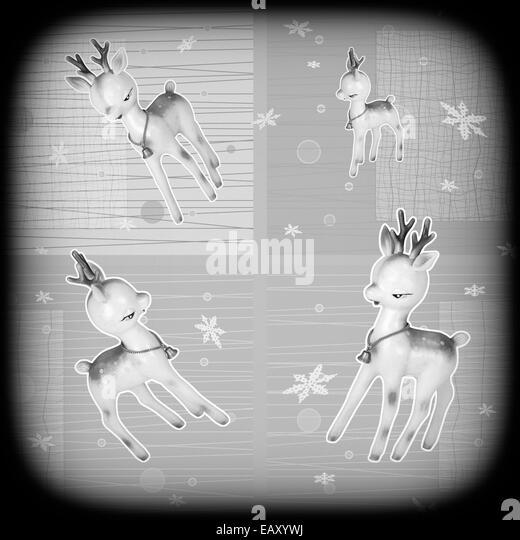 Vintage Christmas deer retro illustration - Stock-Bilder