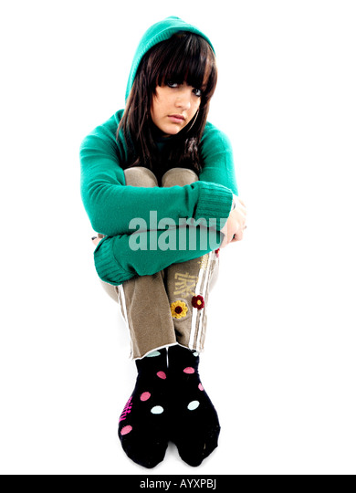Shy Teenage Girl Model Released - Stock Image