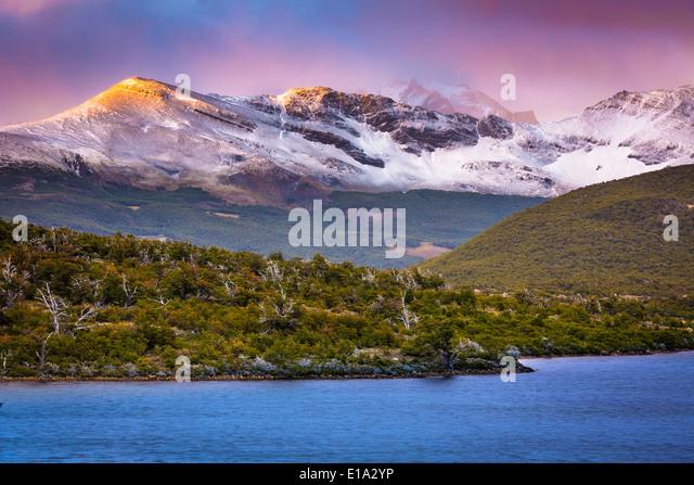 Laguna Capri lake near El Chaltén in the Argentinian part of Patagonia - Stock Image