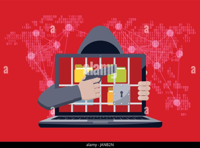 Anonymous hacker with hood pointing gun at locked laptop, with folders behind jail bars, as ransomware hostage on - Stock Image