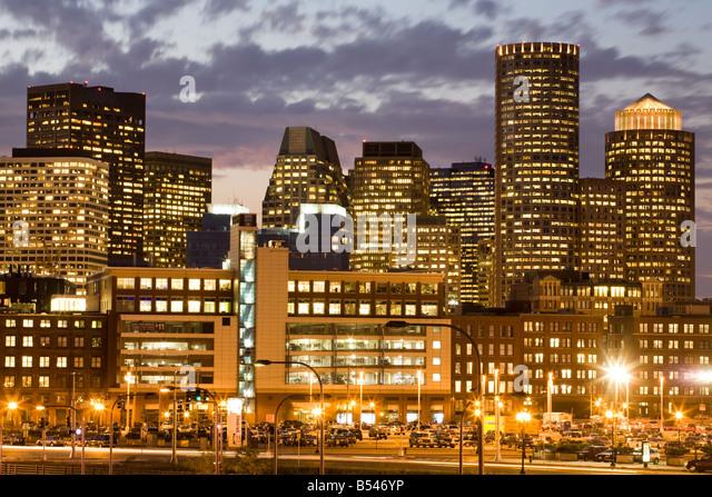 Dusk skyline financial district Boston Massachusetts - Stock Image