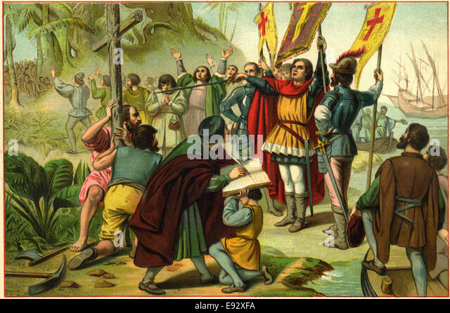 Columbus Taking Possession of the New World, Illustration, circa 1892 - Stock-Bilder