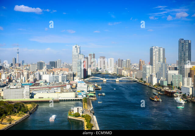 Tokyo, Japan city skyline over the Sumida River. - Stock-Bilder