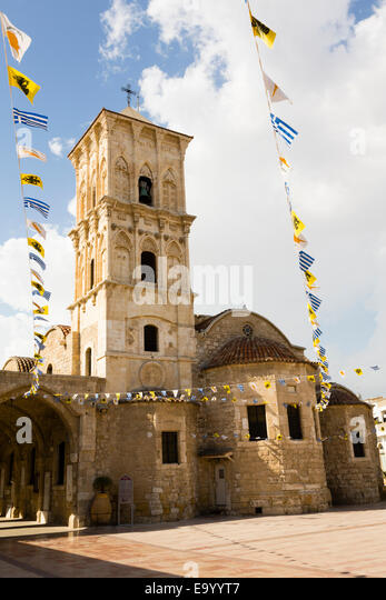 Church of Saint Lazarus, Agios Lazaros, Larnaca, Cyprus, with Independence Day bunting. - Stock Image