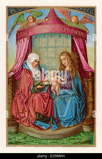 Mary shows her baby to her  mother, Anna - Stock Image