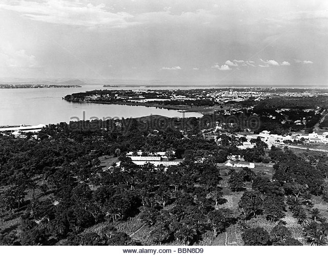 geography / travel, Democratic Republic of the Congo, Kinshasa, city views, / cityscapes, aerial view, 1950s, central - Stock-Bilder