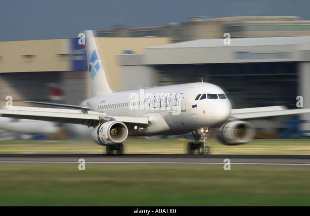 Hellas Jet Airbus A320 232 SX-BVB at London Heathrow UK - Stock Image