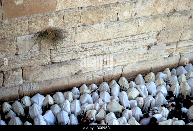 The Priestly Blessing Ceremony by the Western Wall at Succot, Old City, Jerusalem, Israel, Middle East - Stock Image