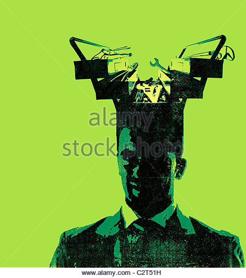 Businessman with toolbox coming from his head - Stock-Bilder