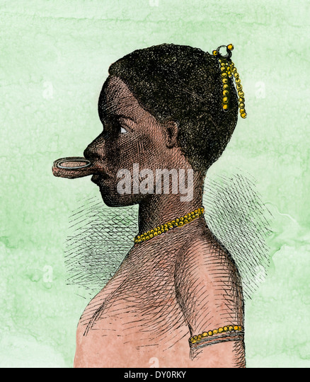 Lip-plate of an African woman, probably a Makonde native in east Africa, mid-1800s. - Stock Image