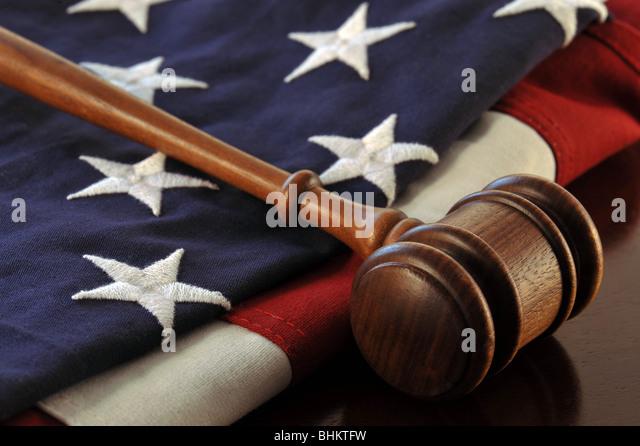 Gavel and flag - Stock Image
