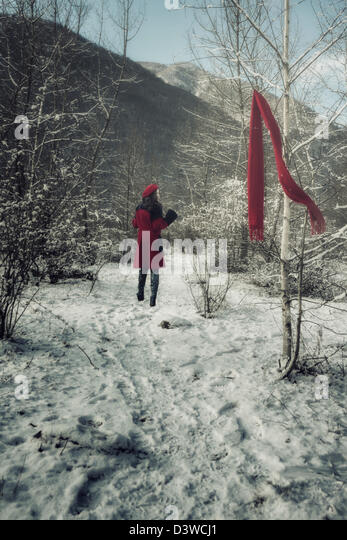 a young woman in a red coat is running through a wintery forest and lost her red shawl - Stock Image