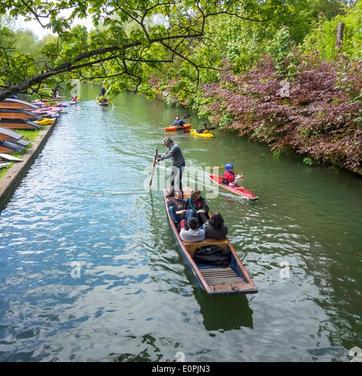 Kyaking Punting Boating River Cam Cambridge - Stock Image