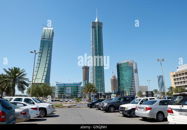 Bahrain Financial Harbour BFH development in Manama, the modern capital of Bahrain. Commercial East and West towers - Stock Image