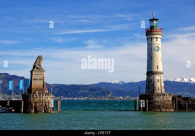 Lindau, port, Bavarian lion, lighthouse, Bavaria, Germany - Stock-Bilder