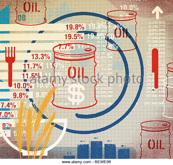 Oil commodity prices - Stock Image