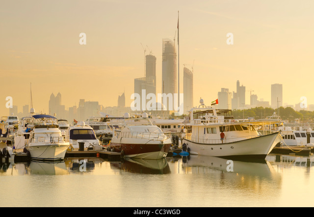 United Arab Emirates, Abu Dhabi, City Skyline from Abu Dhabi International Marine Sports Club - Stock Image