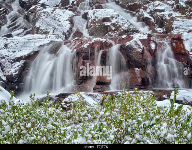 Glen Alpine Falls minutes after fresh snwfall. Lake Tahoe, California - Stock Image