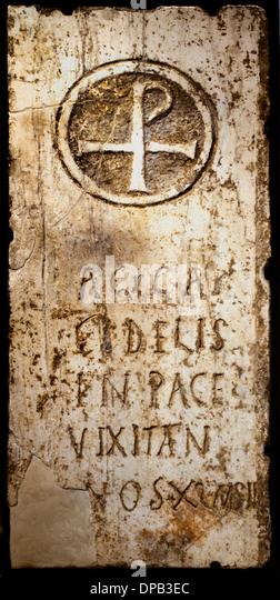 Fragment of architectural terrain reused as Christian funerary slab Egyptian Deities Henchir el Attermine Tunisia - Stock Image