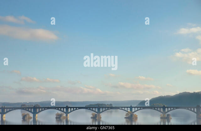 Columbia, Wrightsville  PA bridge over the Susquehanna River on a hazy morning. - Stock Image