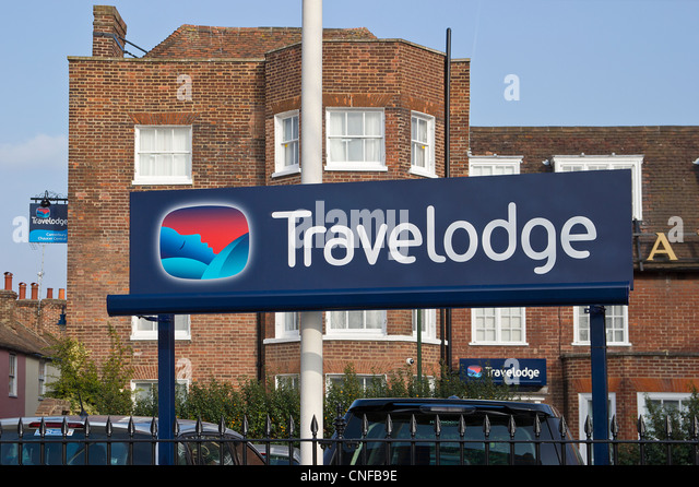 Travelodge Sign Chaucer Hotel Canterbury Kent UK - Stock Image