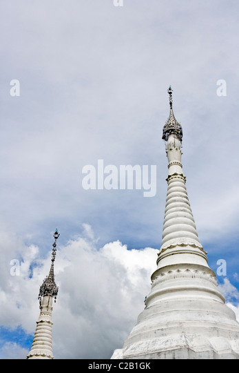 Inle Lake, Myanmar, white stupas, low angle view - Stock-Bilder