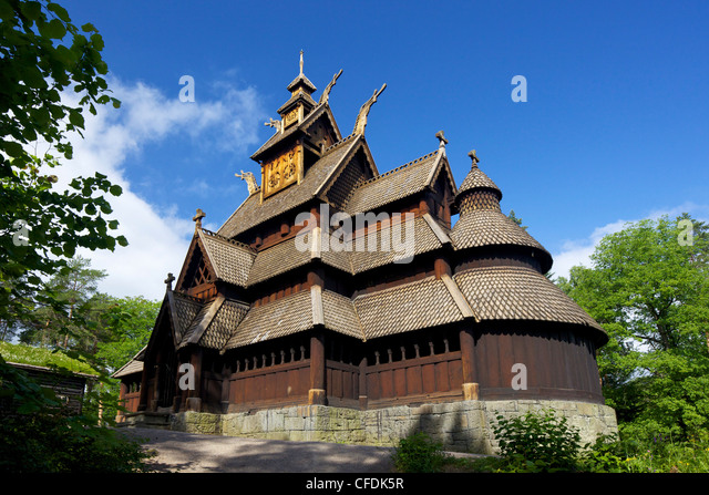 Gol 13th century Stavkirke (Wooden Stave Church), Norsk Folkemuseum Folk Museum, Bygdoy, Oslo, Norway, Scandinavia, - Stock Image