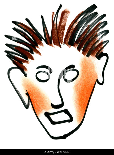 Graphic artwork - comic face. - Stock Image