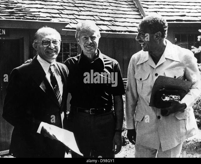 Israeli Prime Minister Menachem Begin (1913 - 1992 )Jimmy Carter, President of the United States Anwar Sadat (1918 - Stock Image