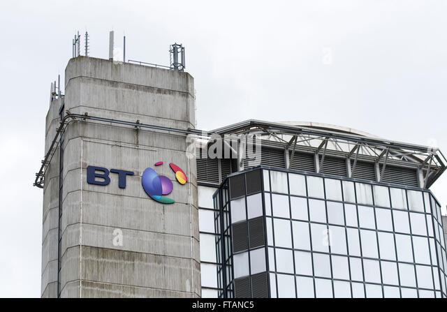 BT (British Telecom) sign logo. - Stock Image
