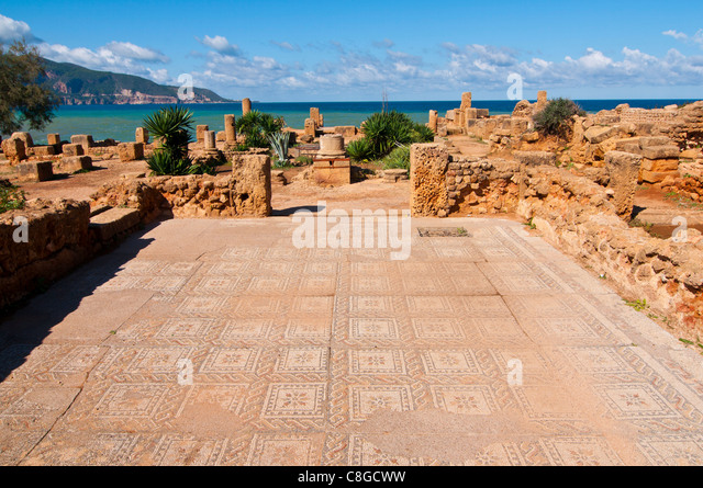Mosaics at the Roman ruins of Tipasa, UNESCO World Heritage Site, on the Algerian coast, Algeria, North Africa - Stock Image