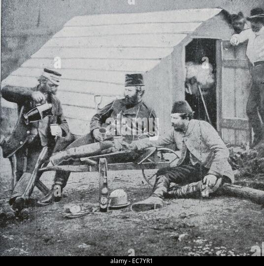 British officers during the Crimean war 1854 - Stock Image