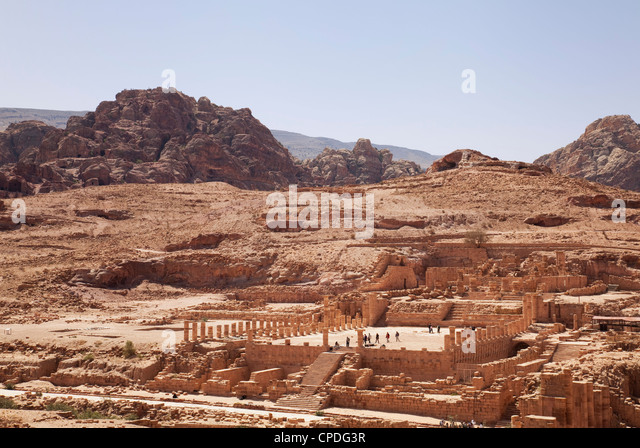 Ruins of the Great Temple in Petra, UNESCO World Heritage Site, Jordan, Middle East - Stock Image