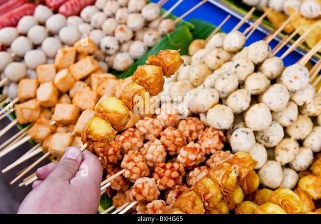 Thai food grill sticks, Bangkok, Thailand - Stock Image