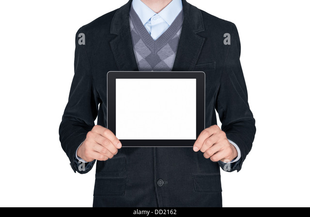 Young man in black suit showing modern digital tablet with blank screen. Isolated on white background - Stock Image