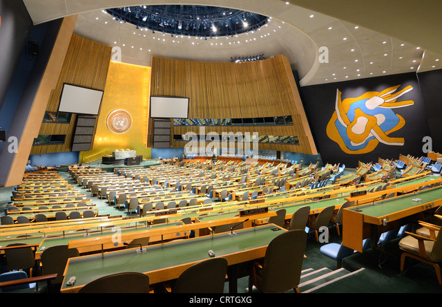 Interior of the United Nations General Assembly May 21, 2012 in New York, NY. - Stock Image