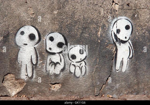 comic daub graffiti - Stock Image