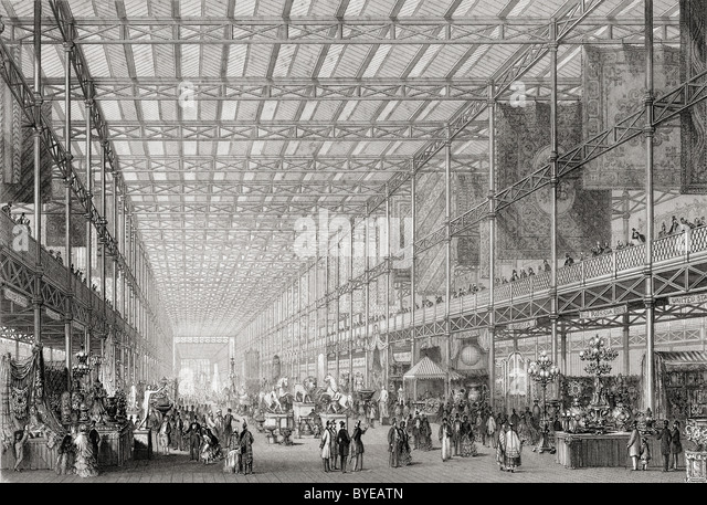 Interior of The Great Exhibition of the Works of Industry of all Nations in Hyde Park, London, England, 1851. - Stock-Bilder