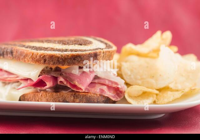 Classic reuben sandwich on pumpernickel swirl rye bread. A hearty meal ...