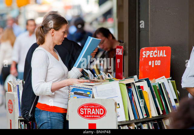 New York City Street and Bookstore. - Stock Image