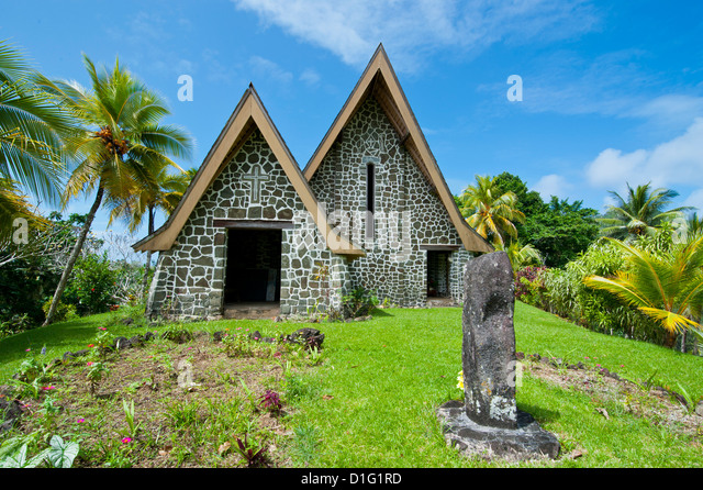 Stone church on Kvato island, Papua New Guinea, Pacific - Stock Image