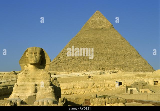 Egypt Giza Sphinx Pyramid of Cephren antiquity - Stock Image