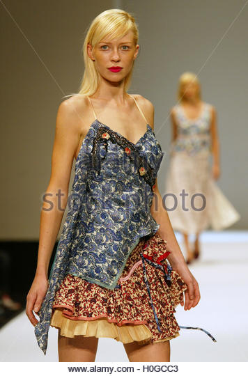 A model wears a garment by Canberra designer label Sandra Thom during  Australian Fashion Week in Sydney May 9, - Stock Image