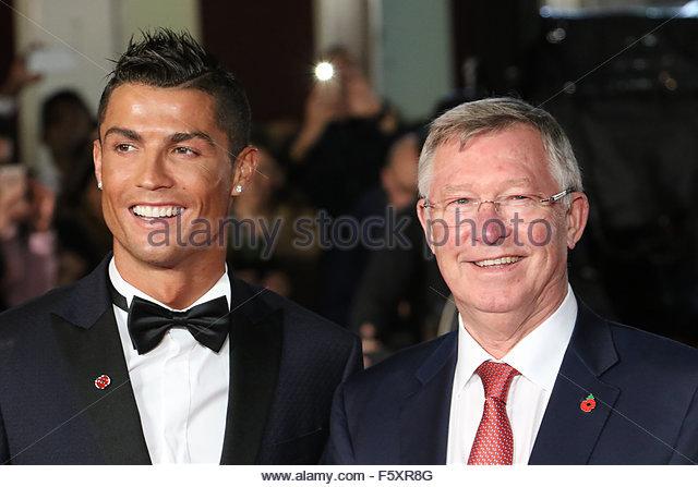 London, United Kingdom. November 9th, 2015. Cristiano Ronaldo and Sir Alex Ferguson attend the world premiere of - Stock Image