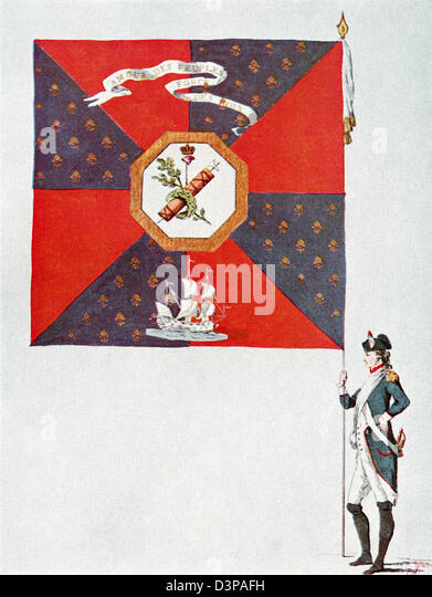 Battalion flag of the Parisien National Guard, Battalion de L'Oratoire. - Stock Image