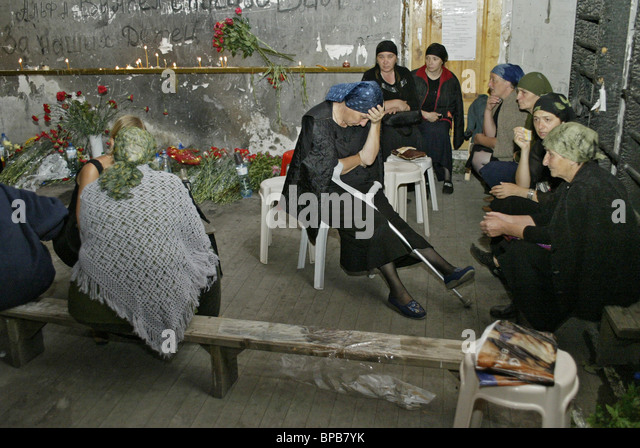 Relatives of Beslan victims decide to stay in the gymnasium of school #1 for three days without food - Stock Image