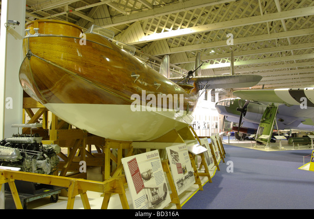 The wooden fuselage of a Supermarine Southampton, a British built general reconnaissance flying boat. - Stock Image