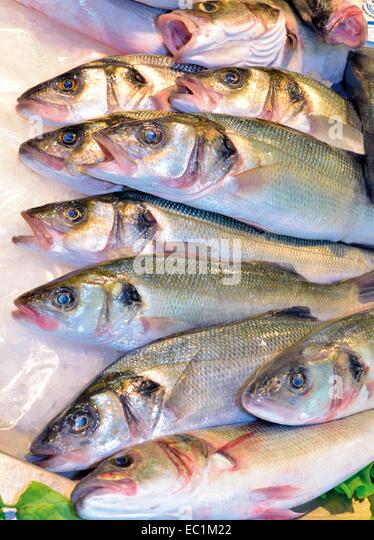 Portugal, Algarve: Fresh fish in the Mercado Municipal in Faro - Stock-Bilder